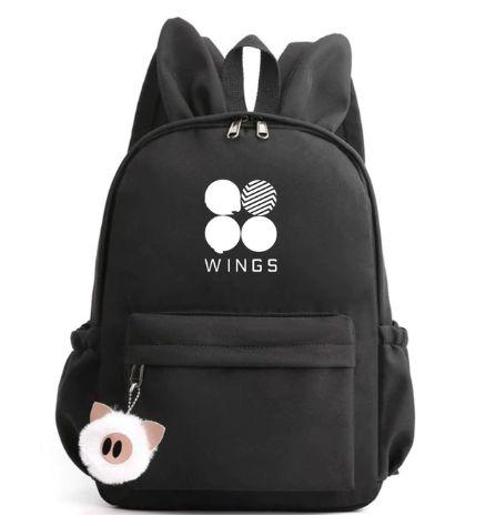 Mochila Bunny BTS WINGS - com Chaveiro - Três Cores