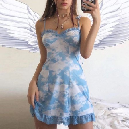 Vestido com Rendas BLUESKY