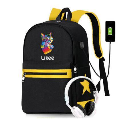 Mochila de Lona LIKEE (CATS & HEARTS) - Duas Cores (Saída USB para Carregador)
