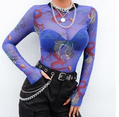 "Blusa Cropped ""Segunda Pele"" DRAGON IN BLUE"