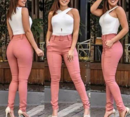 Calça Skinny Bengaline com Cinto - Várias Cores