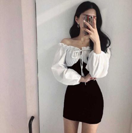 Vestido com Manga Bufante BLACK TIGHT