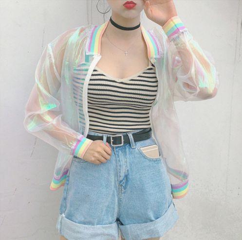 Jaqueta Feminina Arco-Íris Transparente