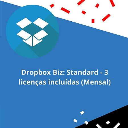 Dropbox Biz: Standard - 3 licenças incluídas (Mensal)