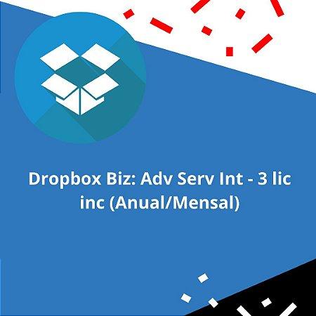 Dropbox Biz: Adv Serv Int - 3 lic inc (Anual/Mensal)