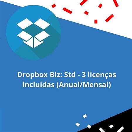 Dropbox Biz: Std - 3 licenças incluídas (Anual/Mensal)