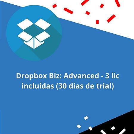 Dropbox Biz: Advanced - 3 lic incluídas (30 dias de trial)