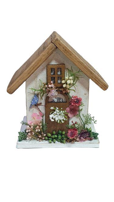 Casa de passarinho porta vela branca P