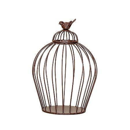 Vaso Decorativo com Pássaro em Ferro