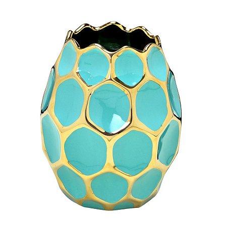 Vaso Decorativo em Cerâmica Azul Tiffany