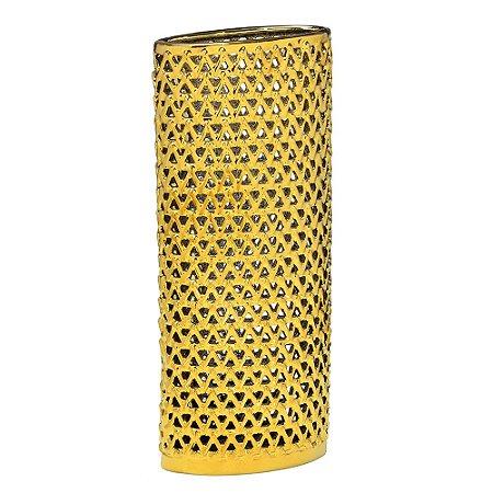 Vaso Decorativo Dourado Vazado
