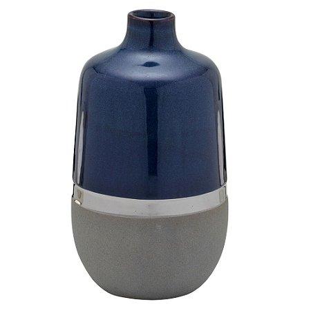 Vaso Decorativo Azul e Cinza em Cerâmica