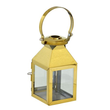 Lanterna Decorativa em Metal Dourada