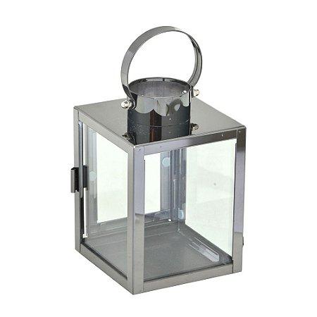 Lanterna Decorativa em Metal Prata