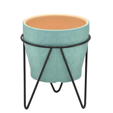 Vaso em cerâmica com suporte