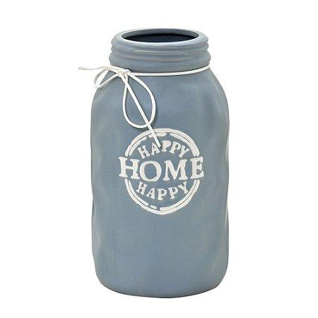 Vaso Cinza Cerâmica Happy Home Happy