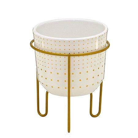 Vaso em Cerâmica com Suporte Branco e Dourado