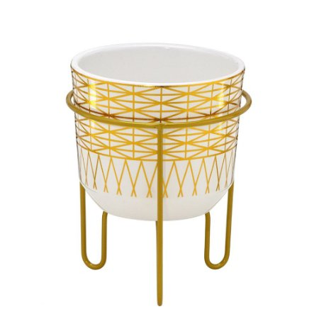 Vaso em cerâmica com suporte Dourado e Branco
