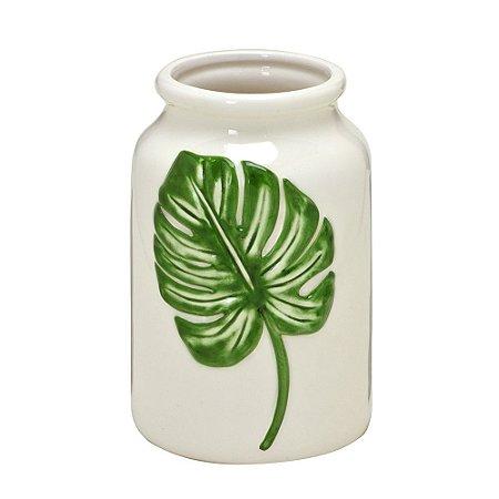 Vaso Ceramica Branco Costela de Adão