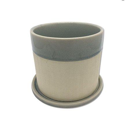 Cachepot Decorativo em cerâmica com prato