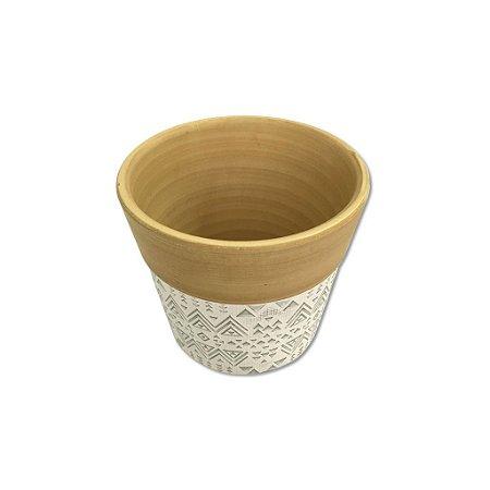 Cachepot Decorativo em cerâmica Dalya Branco e Verde