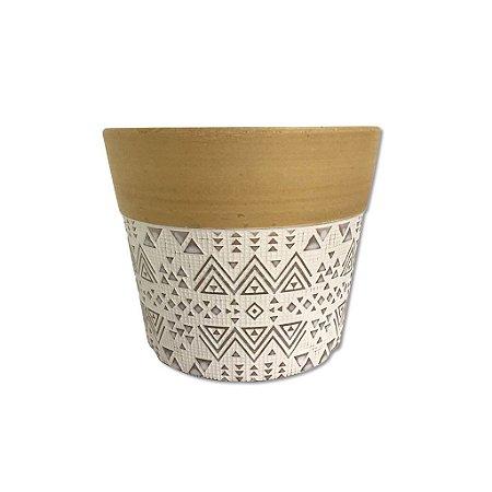 Cachepot Decorativo em cerâmica Dalya Branco e Dourado M