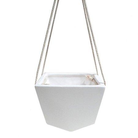 Cachepot de ceramica suspenso branco com corda