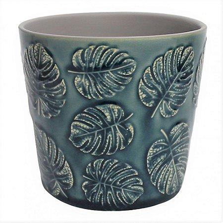 Cachepot de ceramica Costela de Adao Azul