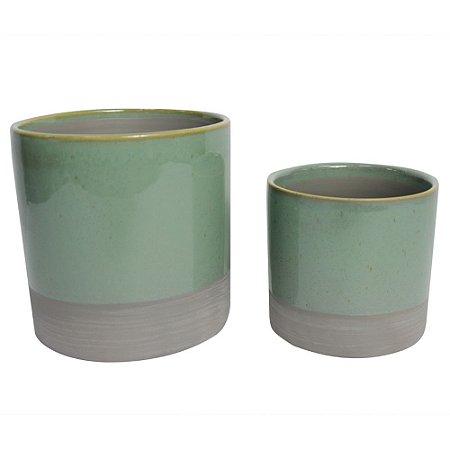 Conjunto de vasos em ceramica verde e cinza - 2pçs