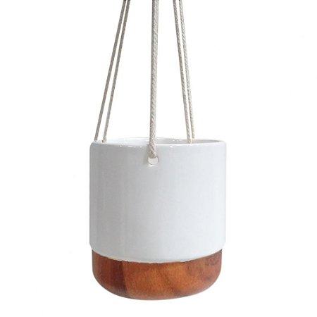 Cachepot em ceramica branco e madeira com alça