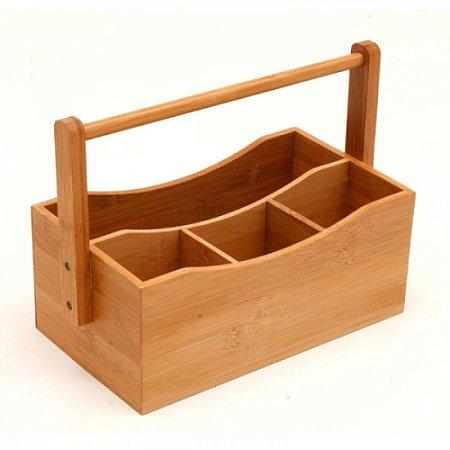 Porta talheres de bambu