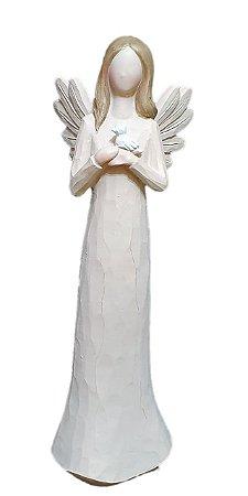 Anjo com pombinho em Resina
