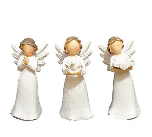 Trio de Anjos Decorativos de Resina