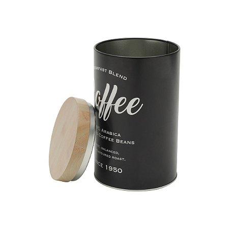 LATA METAL EXPRESSO ROUND COFFEE BEANS PRETO
