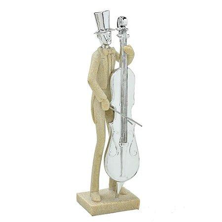 Escultura em Resina Músico com Violoncelo