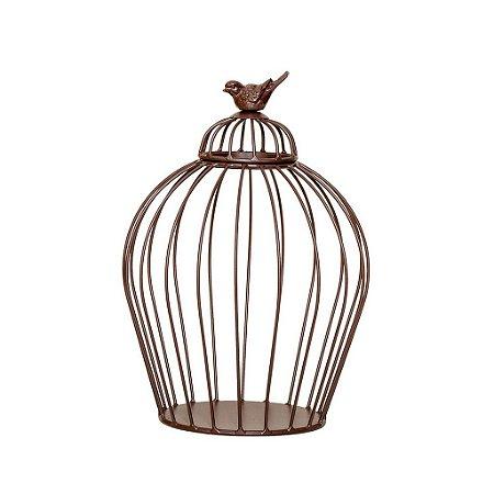 Vaso Decorativo com Pássaro em Ferro P