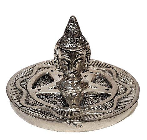 Incensario de Aluminio Buda Prata