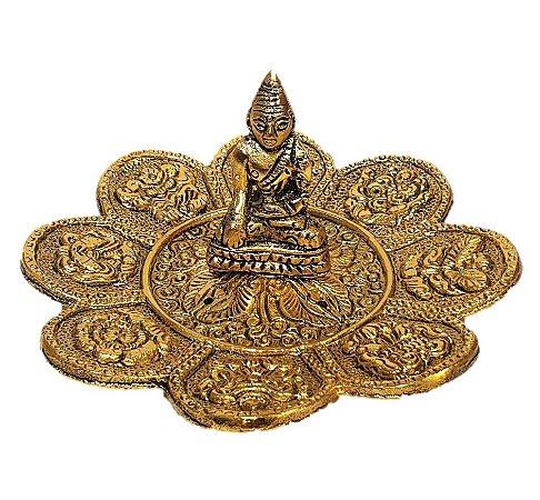 Incensario de Aluminio Buda Dourado
