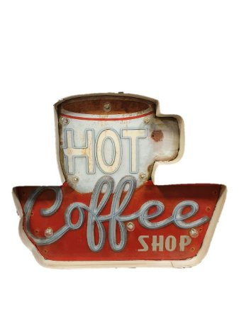 PLACA PAREDE METAL HOT COFFEE COM LED
