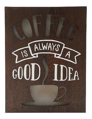 QUADRO MADEIRA  LIGHT BOX COFFE GOOD IDEA COM LED