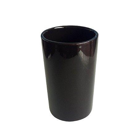 CACHEPOT CERAMICA BASICS DEEP TUBE PRETO