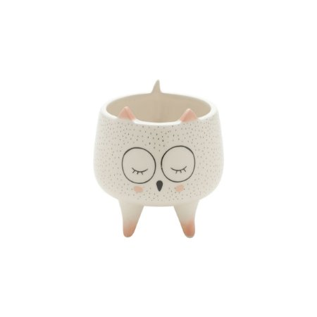 CACHEPOT DECORATIVO CERAMICA SLEEPING OWL BRANCO