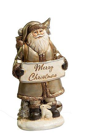 Papai Noel Merry Christmas em Resina
