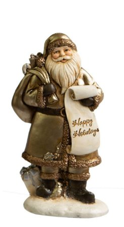 Papai Noel Happy Holidays em Resina