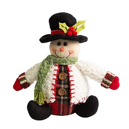 Boneco de Neve Mini Scott Casaco Branco em Pelucia