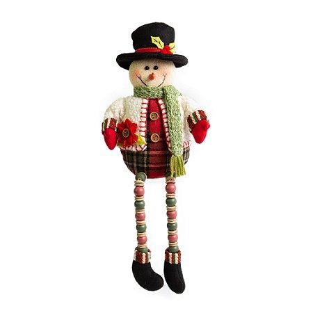 Boneco de Neve Sentado Micangas Scott - 43cm