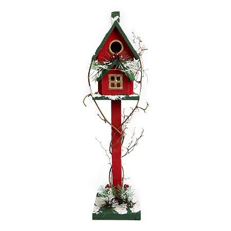 Casa Poste Vintage Decorativa Vermelha