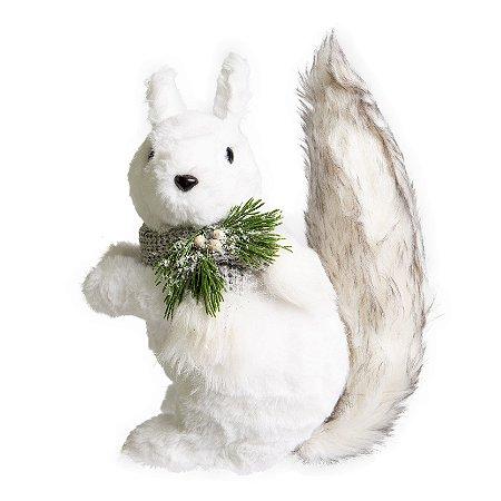 Esquilo Fluffy Branco em Pelucia