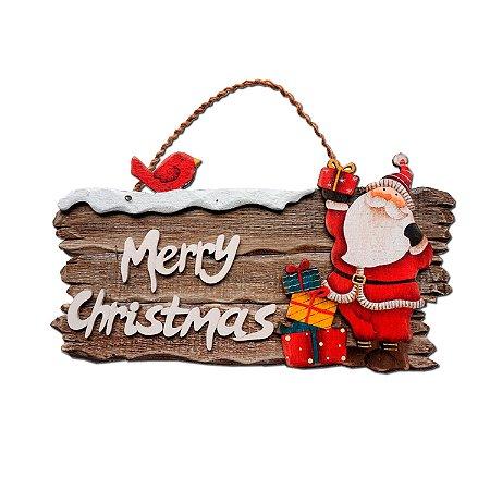 PLACA MERRY CHRISTMAS  NATURAL C/ PAPAI NOEL EM MADEIR