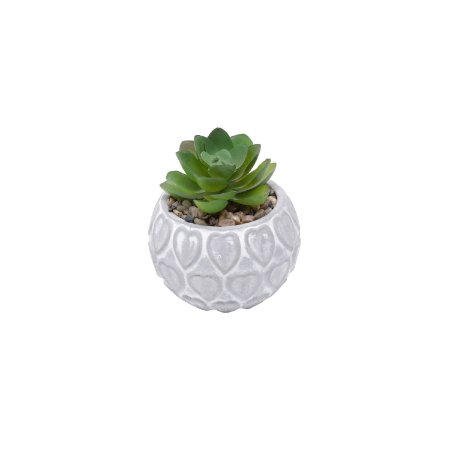 VASO CONCRETO COM PLANTA ARTIFICIAL HEART SHELL CINZA